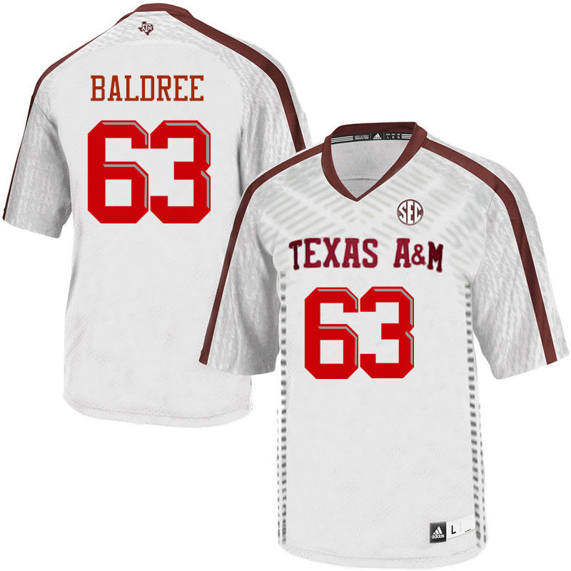 Men #63 Cagan Baldree Texas A&M Aggies College Football Jerseys-White