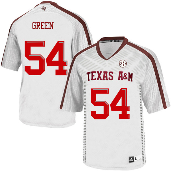 Men #54 Carson Green Texas A&M Aggies College Football Jerseys Sale-White