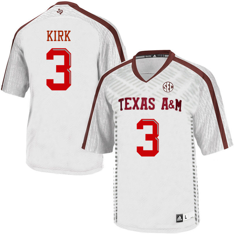 Men #3 Christian Kirk Texas A&M Aggies College Football Jerseys-White