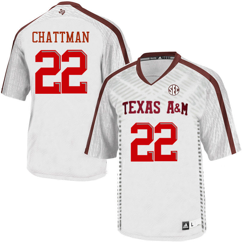 Men #22 Clifford Chattman Texas A&M Aggies College Football Jerseys-White