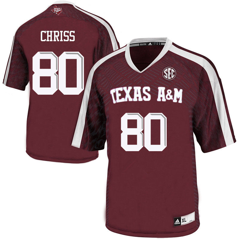 Men #80 Clyde Chriss Texas A&M Aggies College Football Jerseys-Maroon