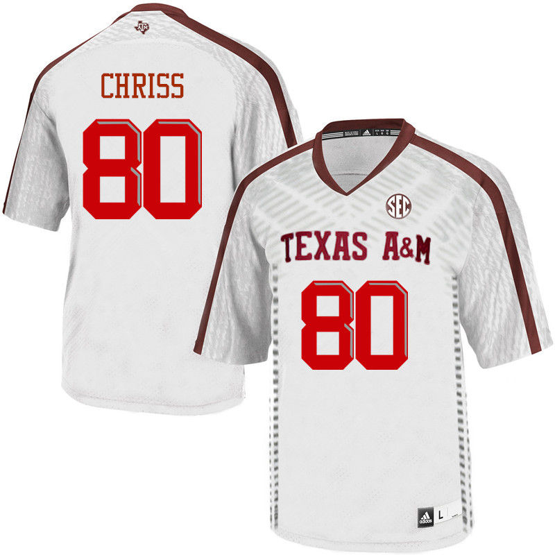 Men #80 Clyde Chriss Texas A&M Aggies College Football Jerseys-White