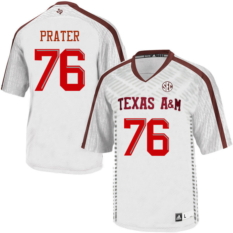 Men #76 Colton Prater Texas A&M Aggies College Football Jerseys-White