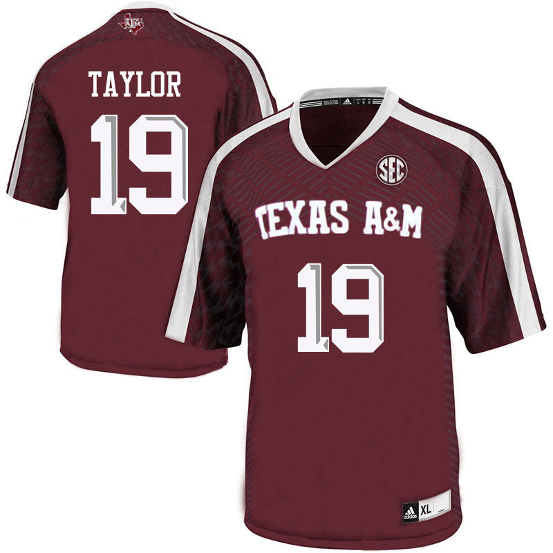 Men #19 Colton Taylor Texas A&M Aggies College Football Jerseys-Maroon