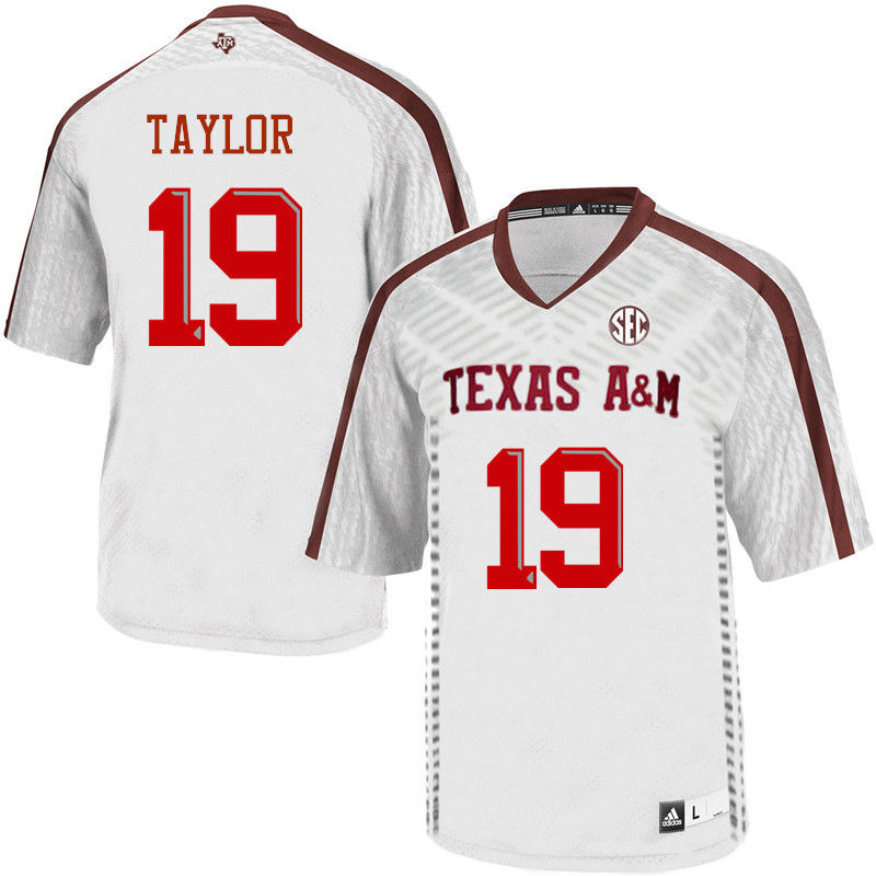 Men #19 Colton Taylor Texas A&M Aggies College Football Jerseys-White