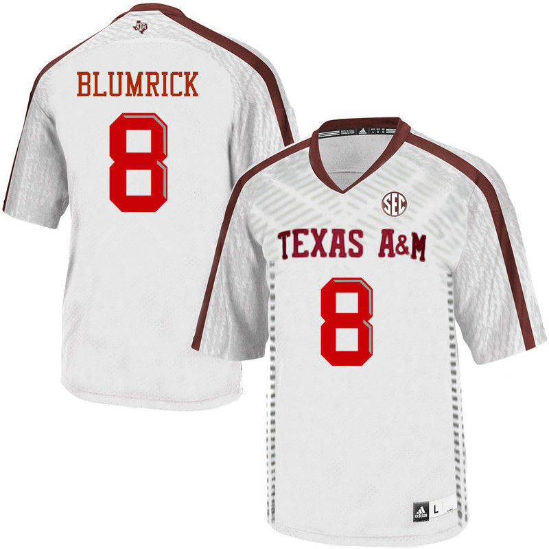 Men #8 Connor Blumrick Texas A&M Aggies College Football Jerseys-White