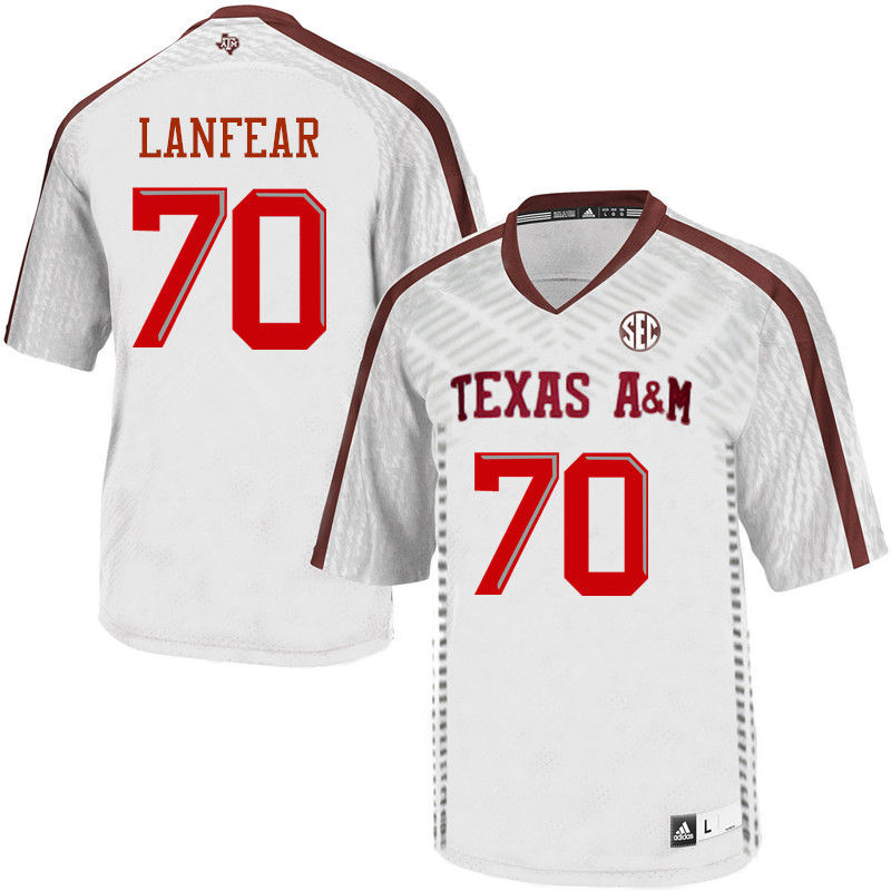 Men #70 Connor Lanfear Texas A&M Aggies College Football Jerseys-White
