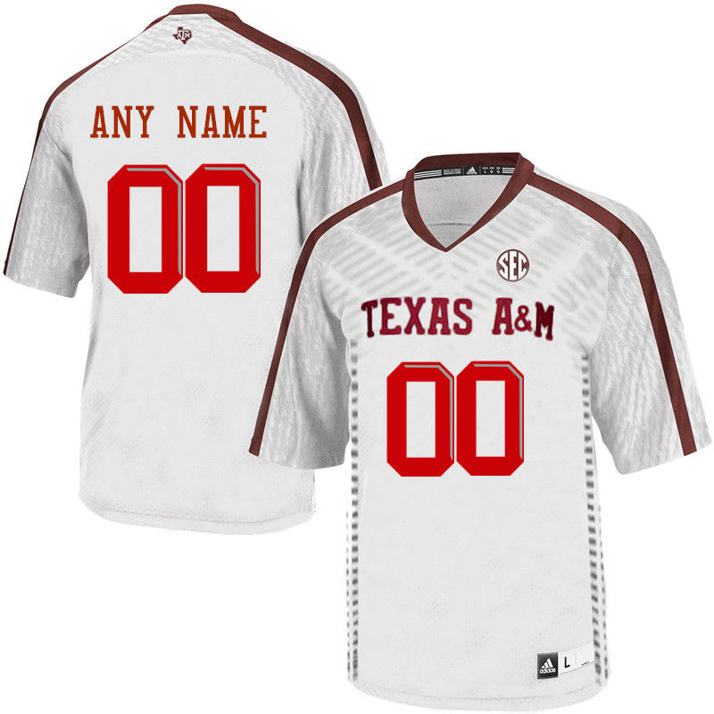 Customs Texas A&M Aggies Men College Football Jerseys-White