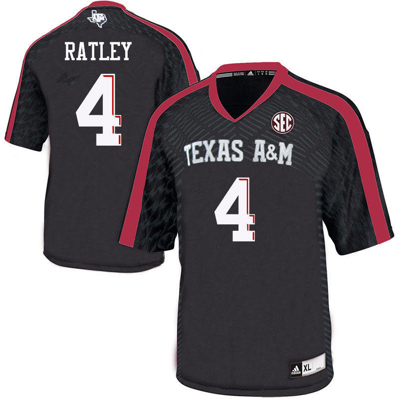 Men #4 Damion Ratley Texas A&M Aggies College Football Jerseys-Black