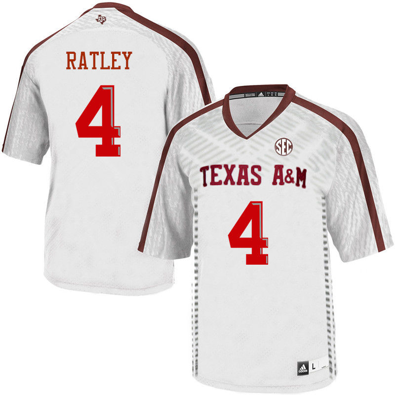 Men #4 Damion Ratley Texas A&M Aggies College Football Jerseys-White