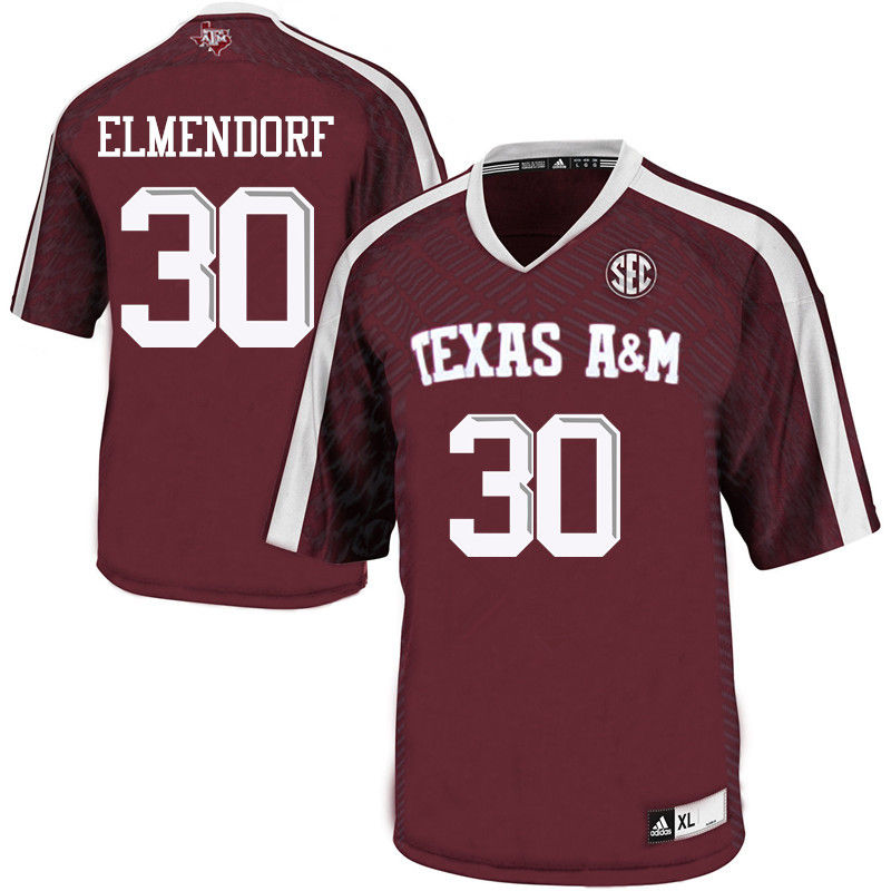 Men #30 Dave Elmendorf Texas A&M Aggies College Football Jerseys-Maroon