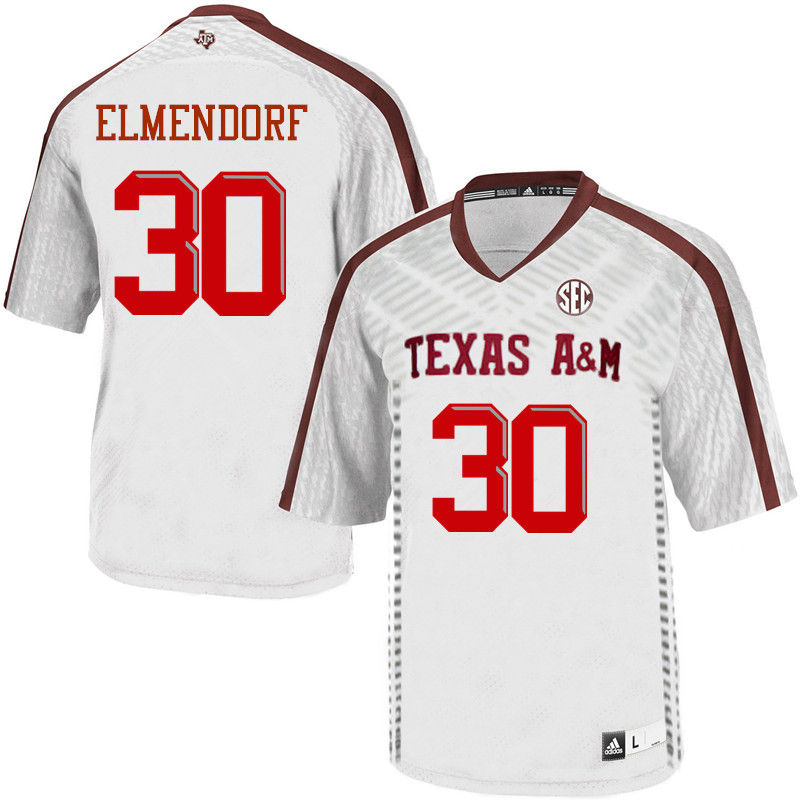 Men #30 Dave Elmendorf Texas A&M Aggies College Football Jerseys-White