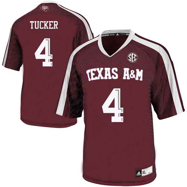 Men #4 Derrick Tucker Texas A&M Aggies College Football Jerseys Sale-Maroon