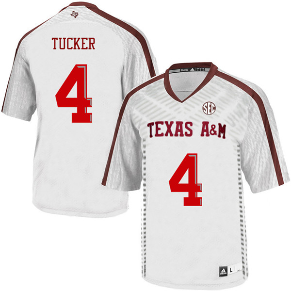 Men #4 Derrick Tucker Texas A&M Aggies College Football Jerseys Sale-White