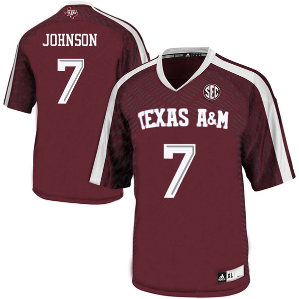 Men #7 Devodrick Johnson Texas A&M Aggies College Football Jerseys Sale-Maroon