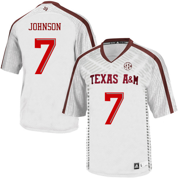 Men #7 Devodrick Johnson Texas A&M Aggies College Football Jerseys Sale-White
