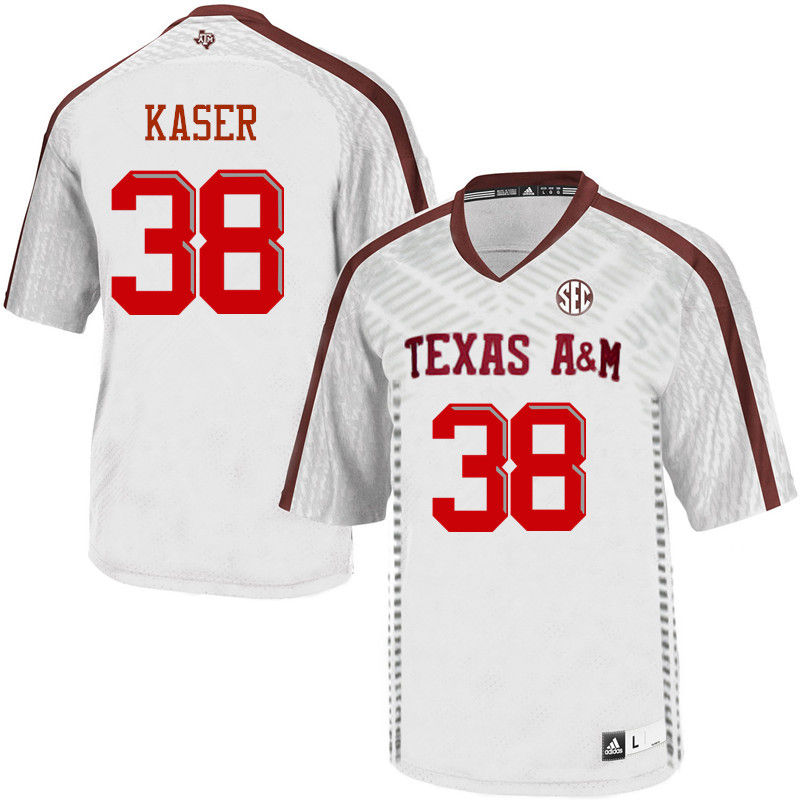 Men #38 Drew Kaser Texas A&M Aggies College Football Jerseys-White