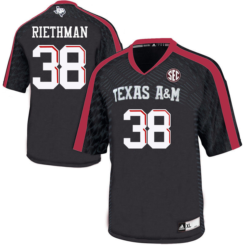 Men #38 Drew Riethman Texas A&M Aggies College Football Jerseys-Black