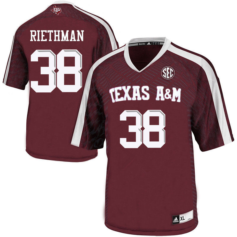 Men #38 Drew Riethman Texas A&M Aggies College Football Jerseys-Maroon