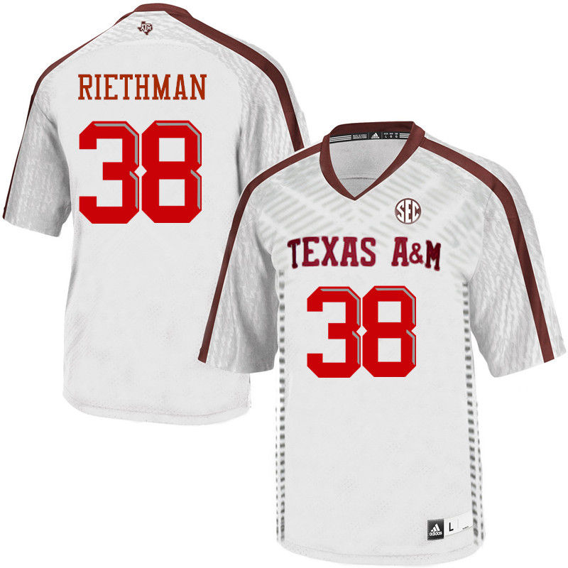 Men #38 Drew Riethman Texas A&M Aggies College Football Jerseys-White