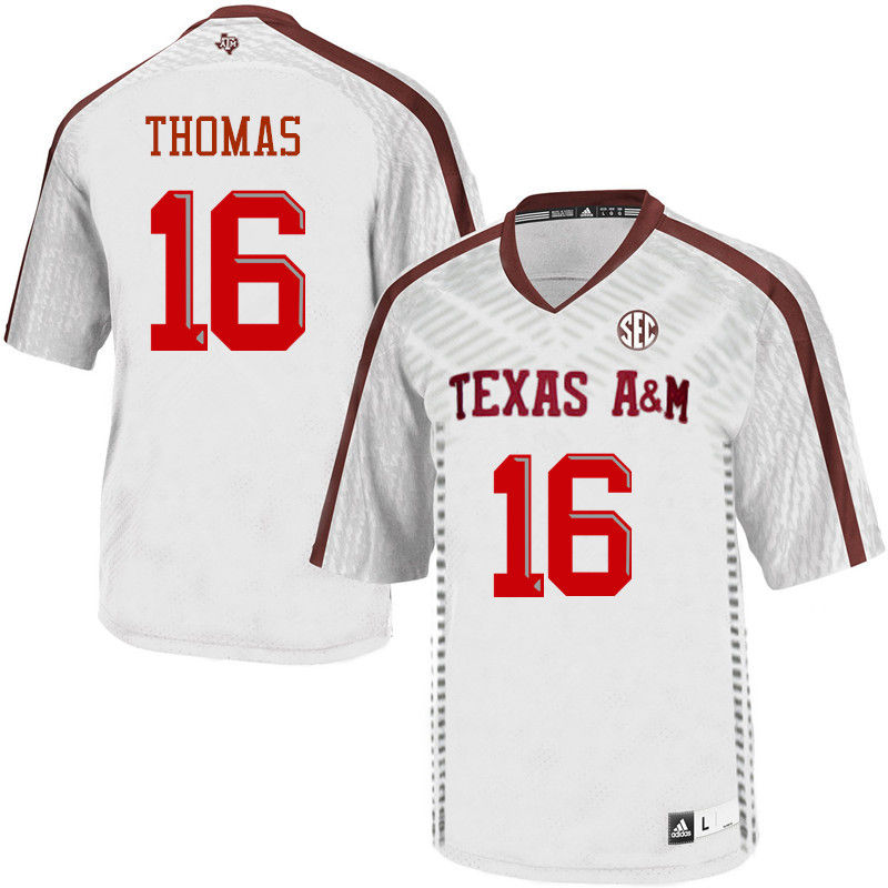 Men #16 Dwaine Thomas Texas A&M Aggies College Football Jerseys-White