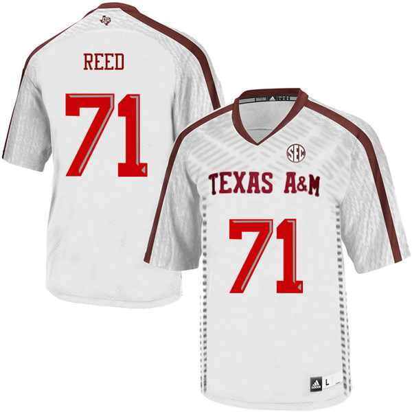 Men #71 Grayson Reed Texas A&M Aggies College Football Jerseys Sale-White