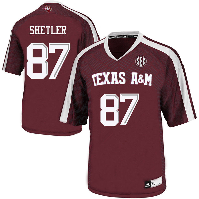 Men #87 Greer Shetler Texas A&M Aggies College Football Jerseys-Maroon