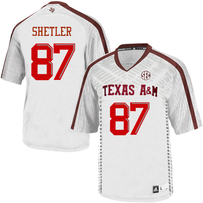 Men #87 Greer Shetler Texas A&M Aggies College Football Jerseys-White