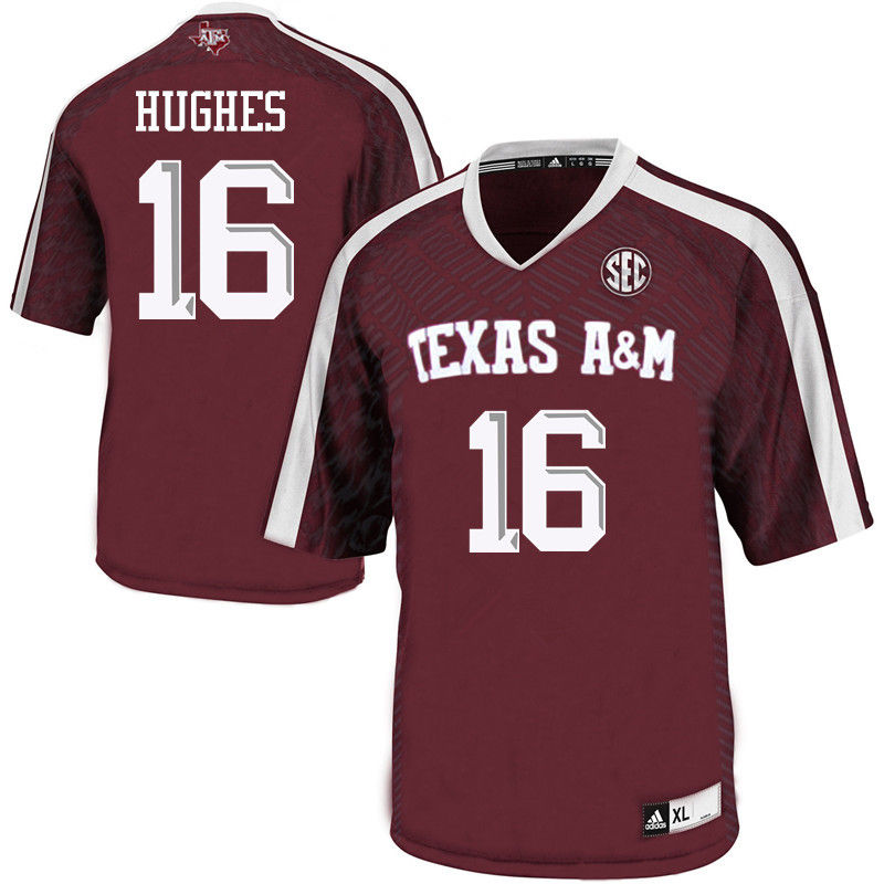Men #16 Hank Hughes Texas A&M Aggies College Football Jerseys-Maroon