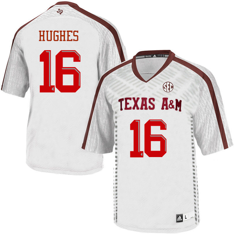 Men #16 Hank Hughes Texas A&M Aggies College Football Jerseys-White
