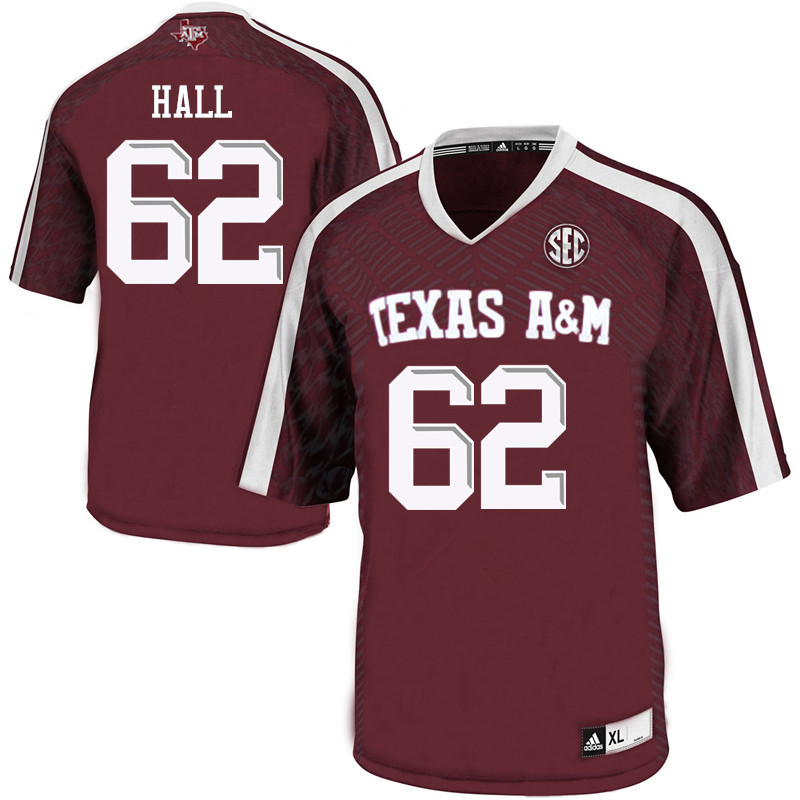 Men #62 Harrison Hall Texas A&M Aggies College Football Jerseys Sale-Maroon