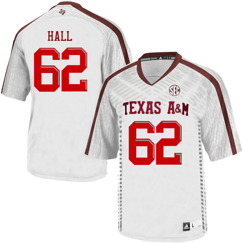 Men #62 Harrison Hall Texas A&M Aggies College Football Jerseys Sale-White