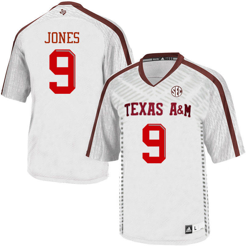 Men #9 Hezekiah Jones Texas A&M Aggies College Football Jerseys-White