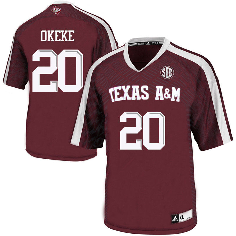 Men #20 Ikenna Okeke Texas A&M Aggies College Football Jerseys-Maroon