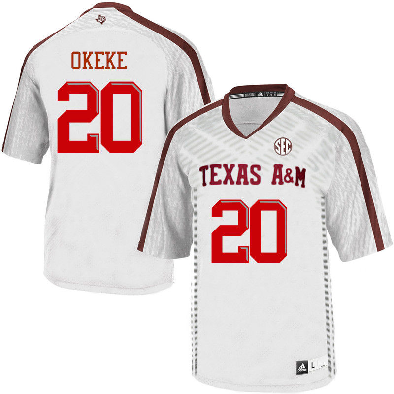 Men #20 Ikenna Okeke Texas A&M Aggies College Football Jerseys-White