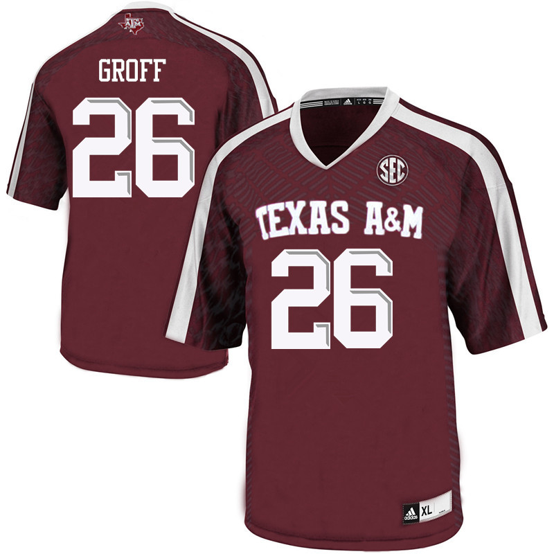 Men #26 Jacob Groff Texas A&M Aggies College Football Jerseys Sale-Maroon