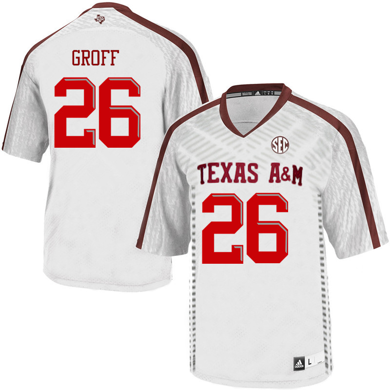 Men #26 Jacob Groff Texas A&M Aggies College Football Jerseys Sale-White