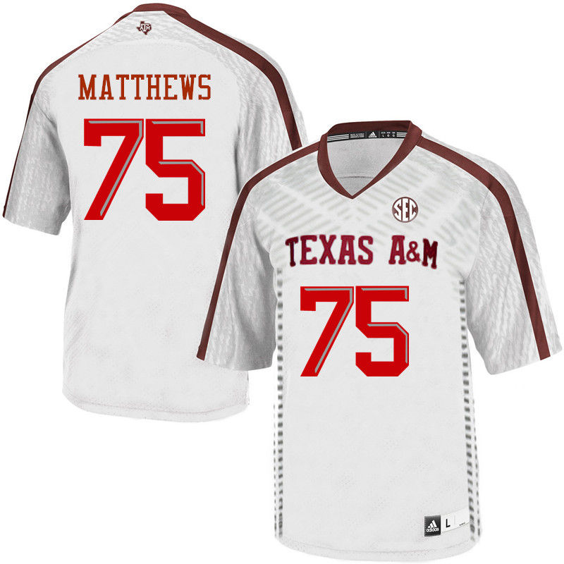 Men #75 Jake Matthews Texas A&M Aggies College Football Jerseys-White