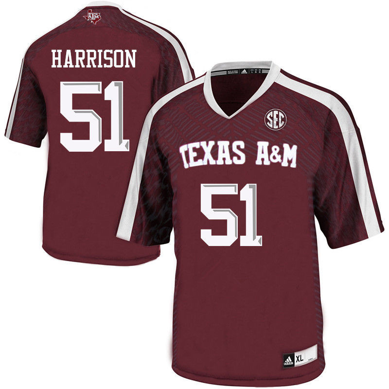 Men #51 Jarvis Harrison Texas A&M Aggies College Football Jerseys-Maroon