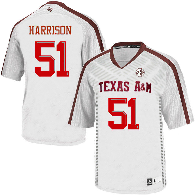 Men #51 Jarvis Harrison Texas A&M Aggies College Football Jerseys-White