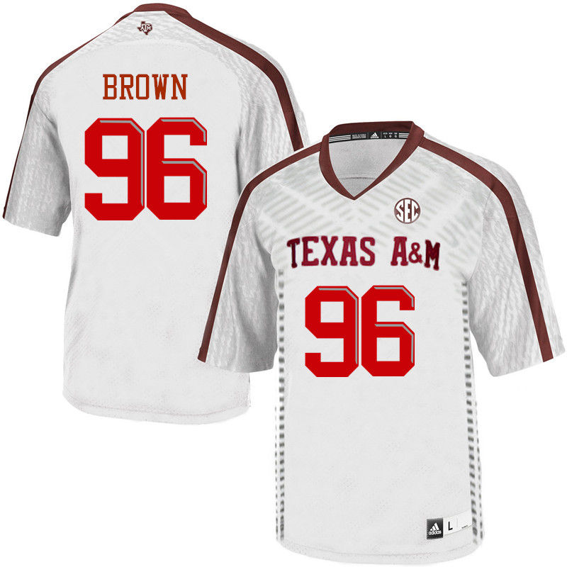 Men #96 Jesse Brown Texas A&M Aggies College Football Jerseys-White