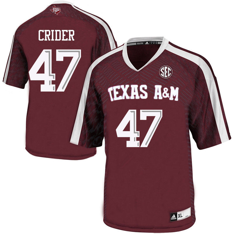 Men #47 Jett Crider Texas A&M Aggies College Football Jerseys-Maroon