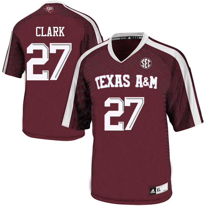 Men #27 John Clark Texas A&M Aggies College Football Jerseys-Maroon