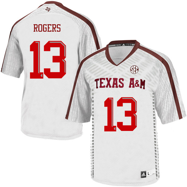 Men #13 Joshua Rogers Texas A&M Aggies College Football Jerseys Sale-White