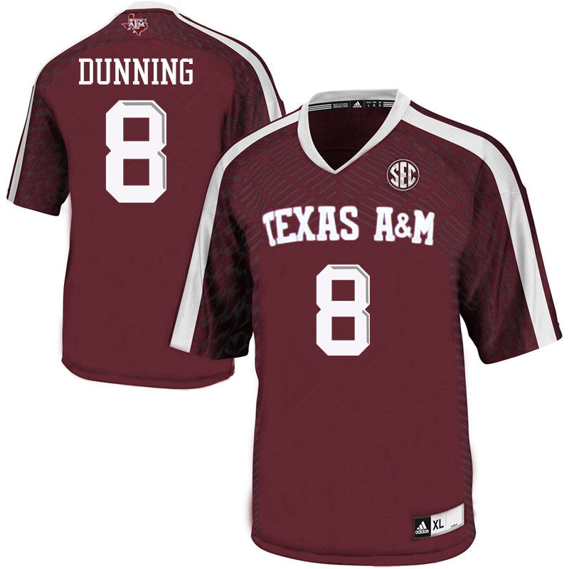 Men #8 Justin Dunning Texas A&M Aggies College Football Jerseys-Maroon