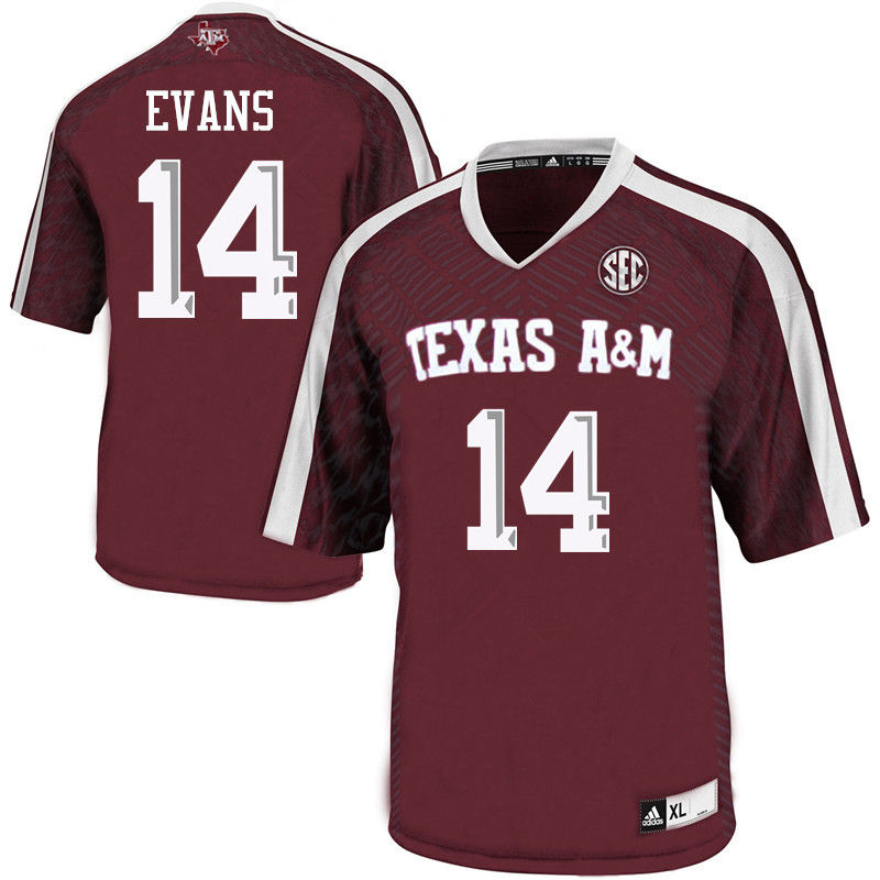 Men #14 Justin Evans Texas A&M Aggies College Football Jerseys-Maroon
