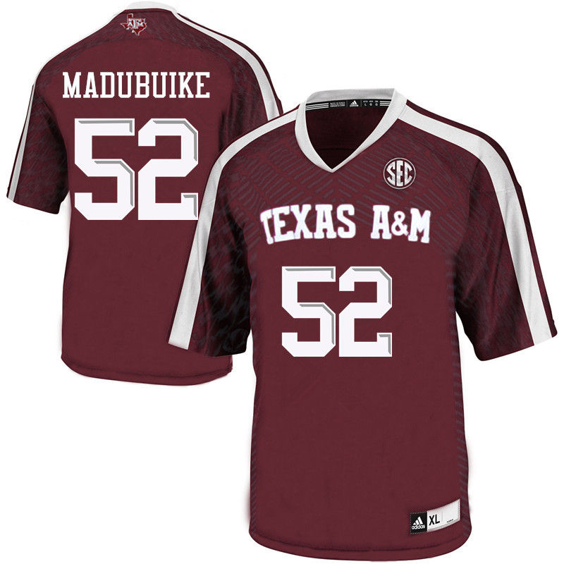 Men #52 Justin Madubuike Texas A&M Aggies College Football Jerseys-Maroon