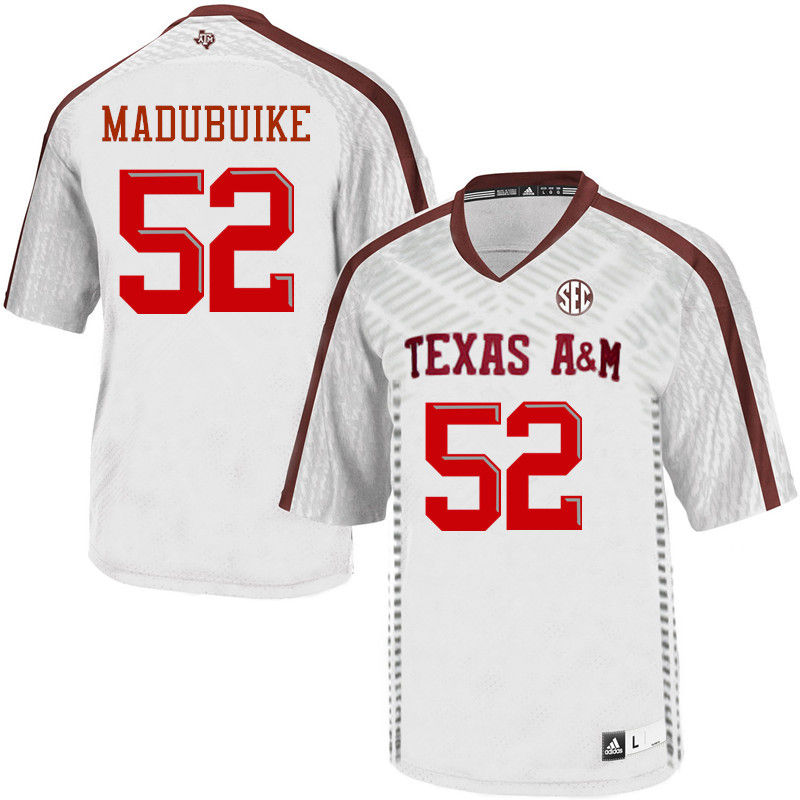 Men #52 Justin Madubuike Texas A&M Aggies College Football Jerseys-White
