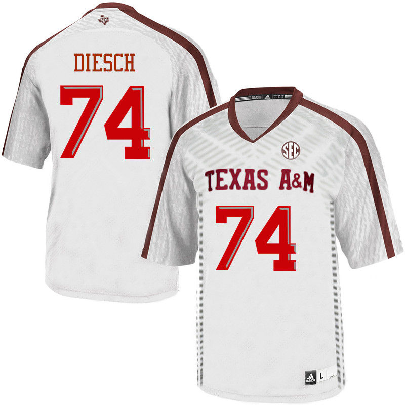 Men #74 Kellen Diesch Texas A&M Aggies College Football Jerseys-White