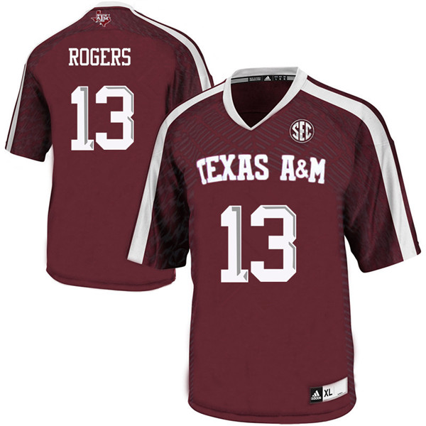 Men #13 Kendrick Rogers Texas A&M Aggies College Football Jerseys Sale-Maroon